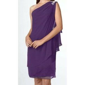 JS Boutique Purple Chiffon Sheath Dress Beaded